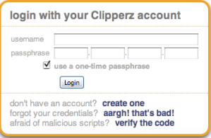 Clipperz.com login